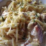 spaghetti carbonara. al dente and rich sauce.