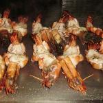 huge prawns in Teppanyaki restaurant