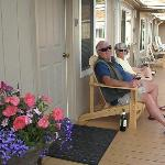 Relax on the deck and make new friends.