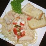 Linguini with chicken & gilled cheese toast