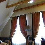 The visible wooden beams, room 407