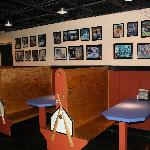 Booth seating around the fringes