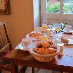 breakfast wutg view of garden