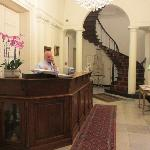 Lobby with Gentleman who is on-site during the evening hours