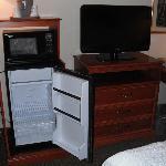 Fridge, microwave and TV