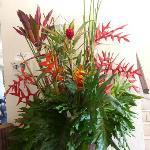 flower arangement at entrance