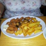 the scampi was good value and the chips delicious