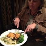 Denise digs into Mustard-Glazed Tofu with long beans, plums and a plum wine sauce.