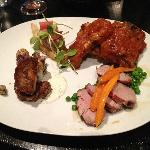 What DeepWood Restaurant called their Personal Pig Roast. Pork four different ways (from left) s