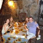 Sabino takes us to lunch in a cave in ancient mill in the Dying City, Umbria