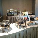 Another view of the buffet and champagne station