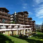 VIEW FROM GARDEN OF HELVETIA INTERGOLF HOTEL & APPARTHOTEL IN SEPTEMBER 2012.