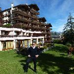 VIEW FROM GARDEN OF HELVETIA INTERGOLF HOTEL & APPARTHOTEL IN SEPTEMBER 2012.