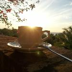 Cup filled with clear morning light