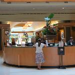 Reception desk leading to the mall