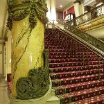 Grand staircase and massive marble pillar