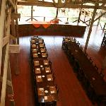 Dining area viewed from upstairs in lodge