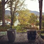 Gorgeous view of the White Mountains from the porch where we enjoyed our coffee