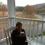 Deck where coffee was each morning - beautiful view!