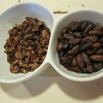 The husks separated from the cocoa beans