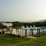The outdoor pool with the Ridge-and-Valley Appalachians in the background.