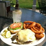 grilled 1/2 lb burger with grilled onions & pepperjack