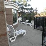 Sun deck outside of pool