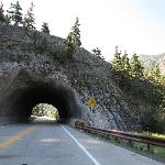 cool tunnel carved out in the mountain side
