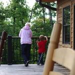 My mom and son spent a lot of time together on the big deck.