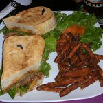 Superfecta sandwich w/ sweet potato fries and pickled carrots