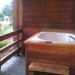 Soaking tub on our deck