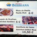 Restaurante Burriana - menu del dia signage