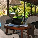 this is were you find me - reading my email and doing some work on the lovely veranda of KhashaM