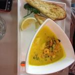 seafood chowder, wonderful tasting chowder with prawns scallops and muscles and toasted ciabatta
