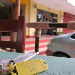 room keys and the entrance at the background