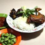 Nasi, paha, ampela, hati, sambal, pete, timun, kemangi. (Rice, duck leg, gizzard, liver,  chiili