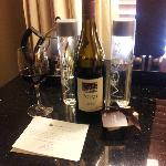 A nice gift in the room - two bottles of water and one of Pinot Noir