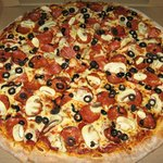 """The """"Cruiser"""" Pepperoni, Mushrooms and Black Olives."""