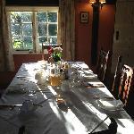 Breakfast table in sunshine