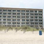 View from the beach, of the hotel.