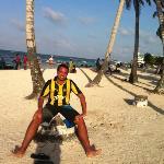 Con la de Peñarol en la playa publica