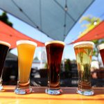 Flight of Local Brews at Rivertap