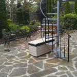 Circular steps up to breakfast room