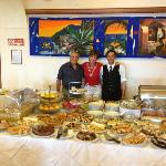 Breakfast buffet with owner Dominic and waiter Tony