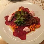Moose Carpaccio with mesk bread