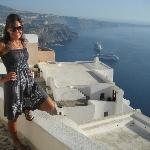 Enjoying Fira, the capital of Santorini, and easy to get to from pension livadaros