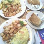 Omlettes and potatoes...yum!