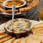 Wood Burning Oven Baked Spinach and Artichoke Dip and Goat Cheese Fondue