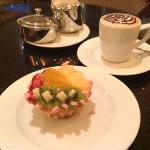 Great dessert & Cappuccino in the Bar area