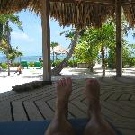 relaxing in the palapa by the pool